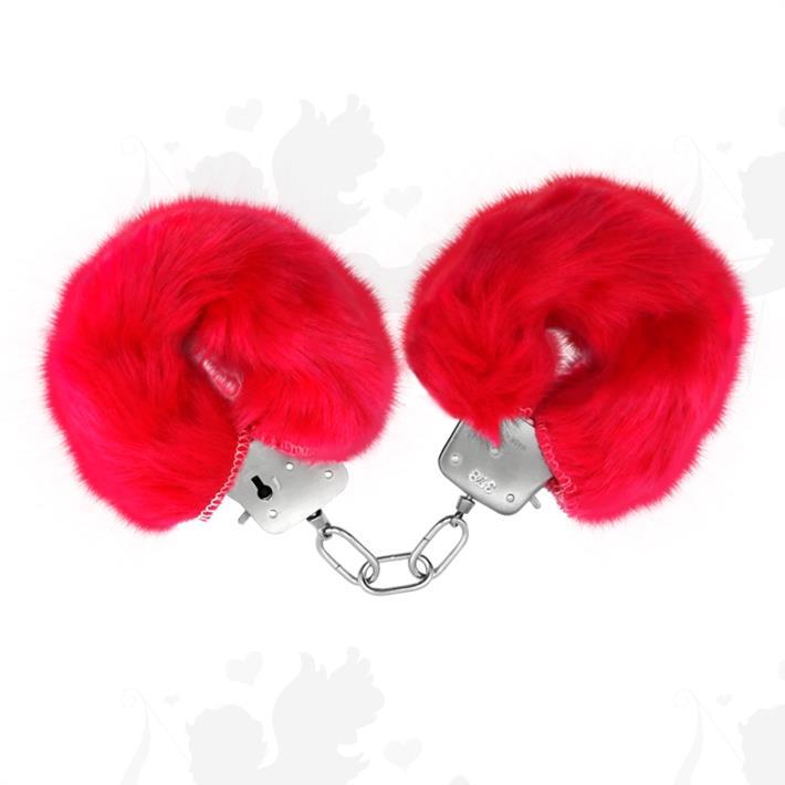 Esposas de metal cubiertas de peluche rosa