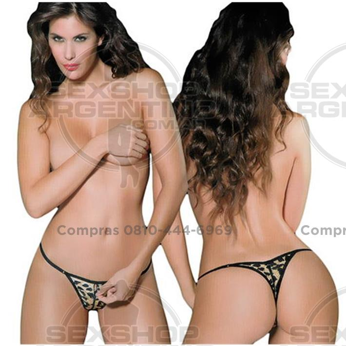 Lencería femenina, Tangas eroticas - Tanga Tul Animal Print Con Cierre