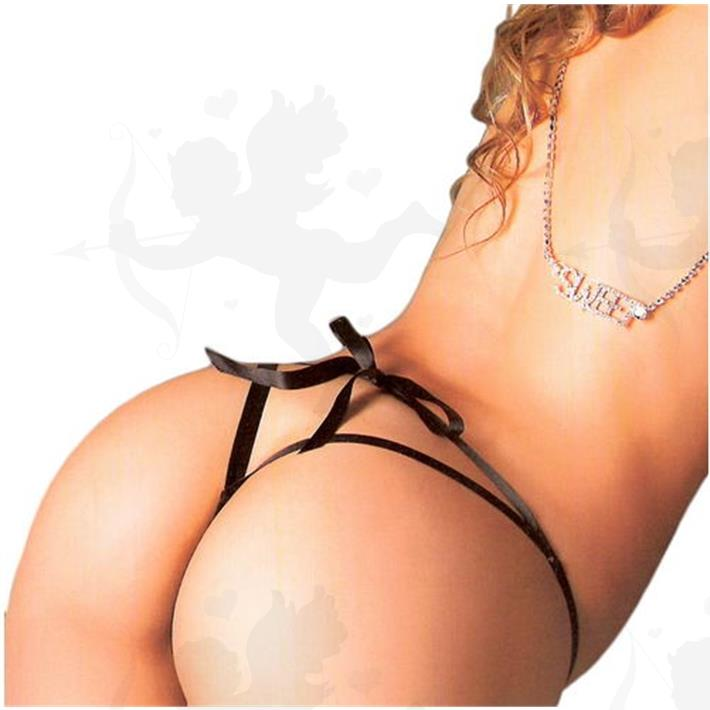Cód: B073N - Tanga Colaless Erotica De Cinta Negra - $ 680