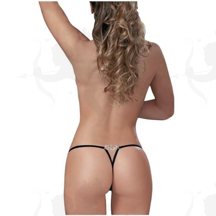 Cód: B089N - Tanga Colaless Mala Strass Premium - $ 1050