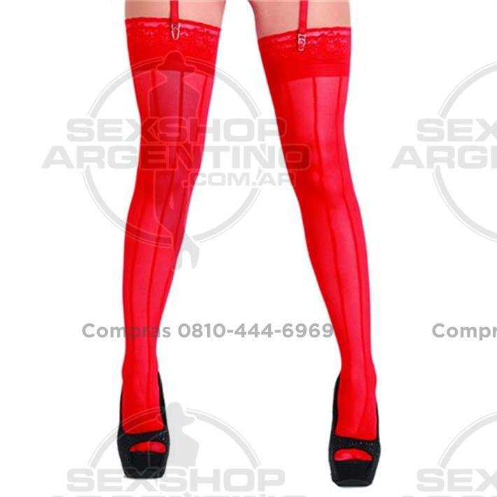 - Medias lisas rojas con rayas