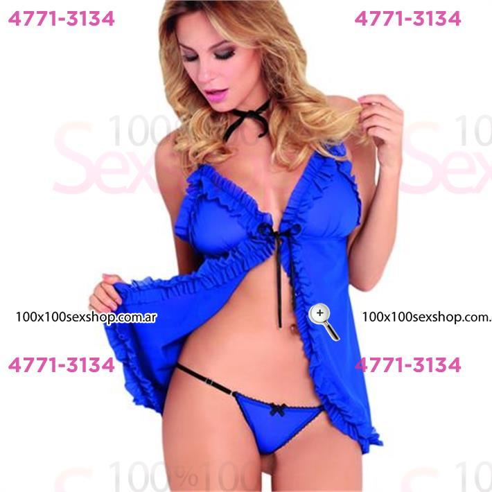Cód: CA B765A - Baby Doll de tul azul - $ 1700