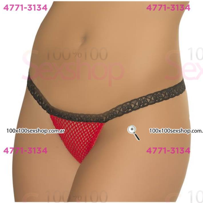 Cód: CA C102R - Tanga De Red Roja Con Puntilla Negra Femenina - $ 860