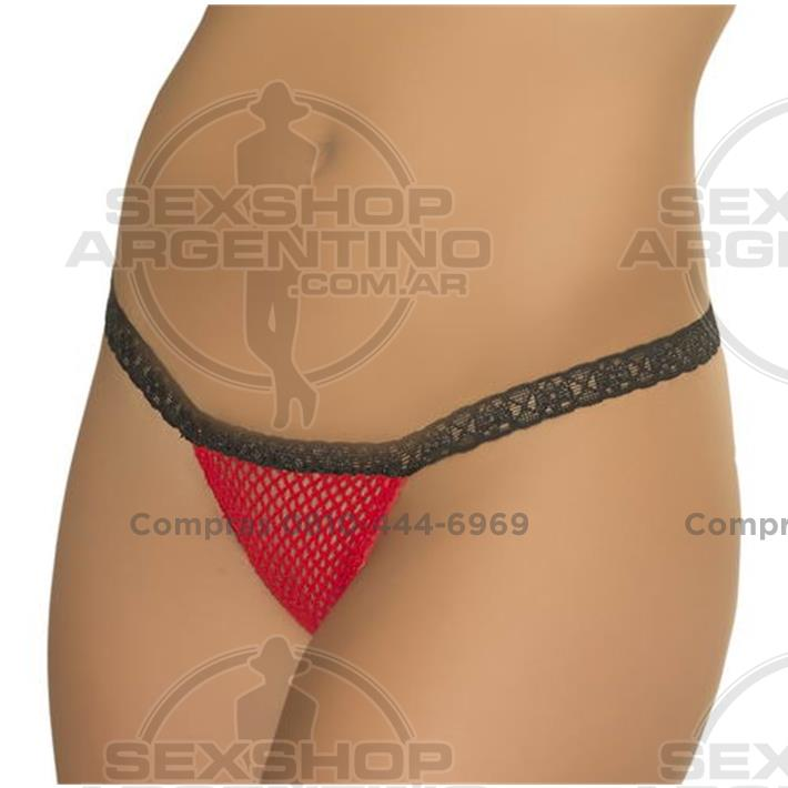 - Tanga De Red Roja Con Puntilla Negra Femenina