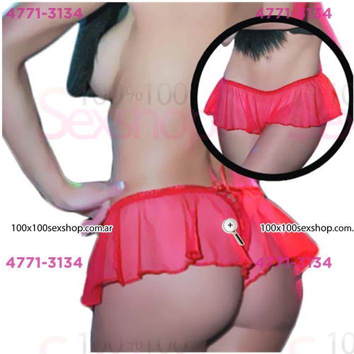 Cód: CA C1428R - Minifalda erótica  De Tul Con Volados Y Pasacinta Trasera  - $ 1110