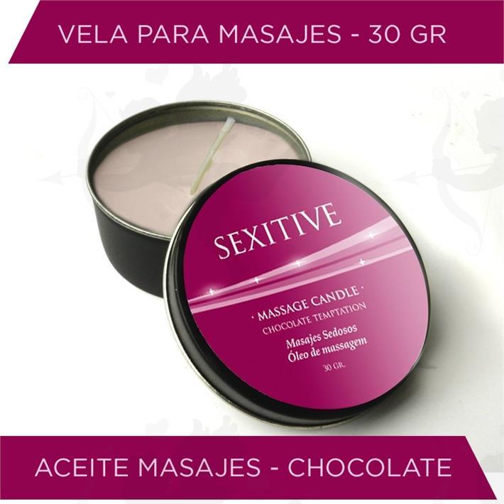 Vela para masajes con aroma a chocolate 30gr