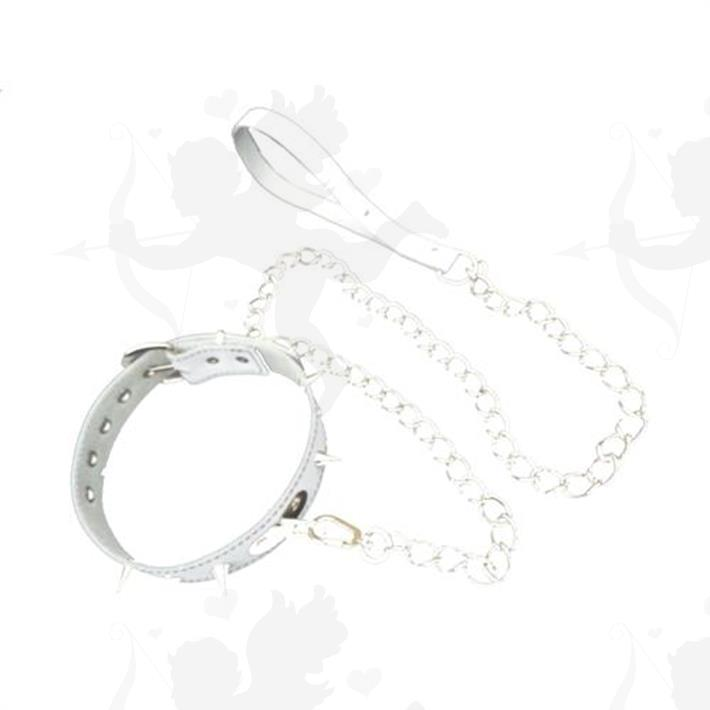 Cód: CU215B - Collar Blanco con cadena y Puas - $ 1050