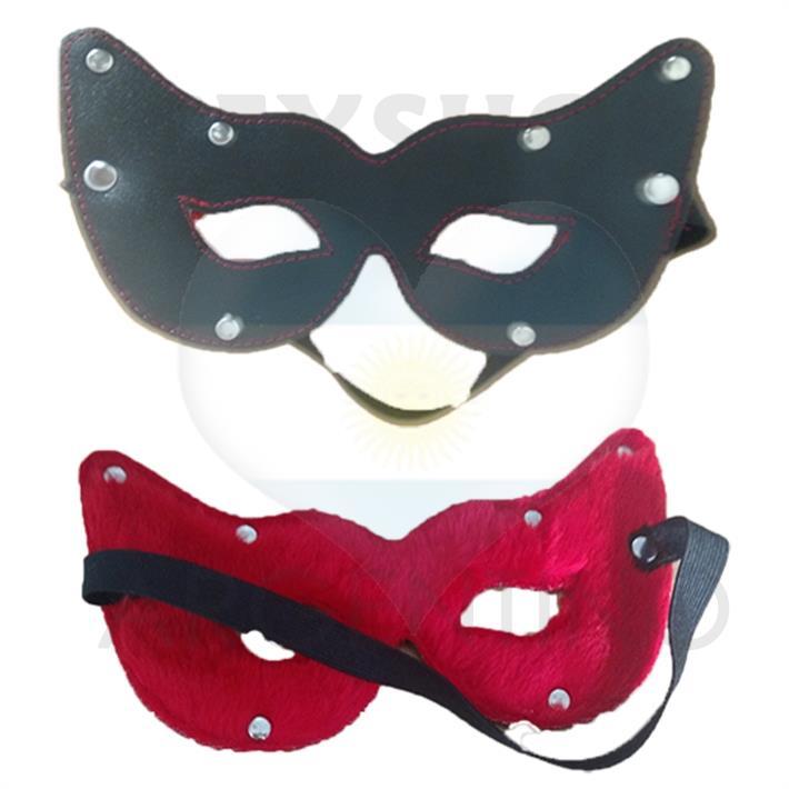 Antifaz con vista gato negro con peluche rojo