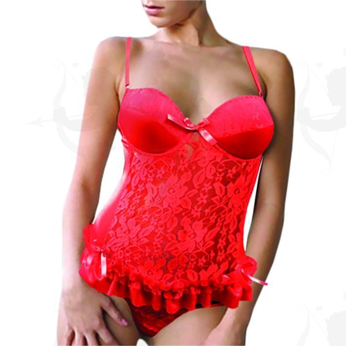 Cód: D3120R - Corsette rojo Encaje y Satin con taza soft - $ 2950