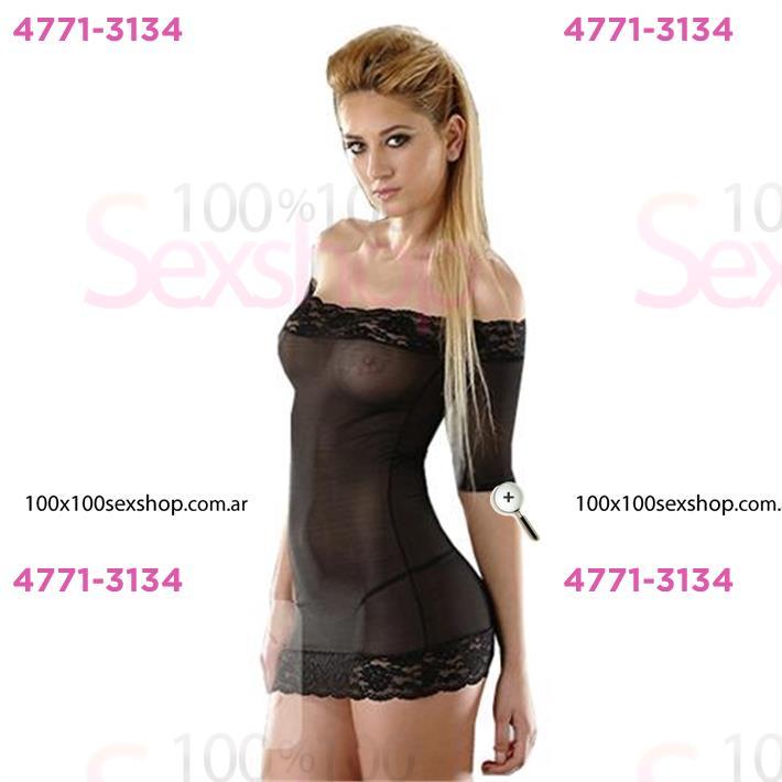 Cód: CA D6111N - Vestido erótico  negro de tul con detalles de encaje - $ 2340