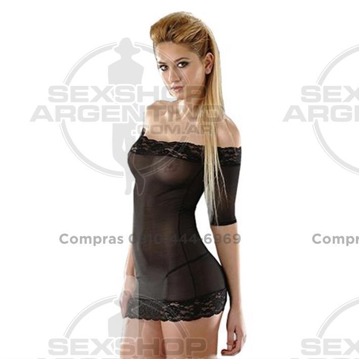 - Vestido erótico  negro de tul con detalles de encaje