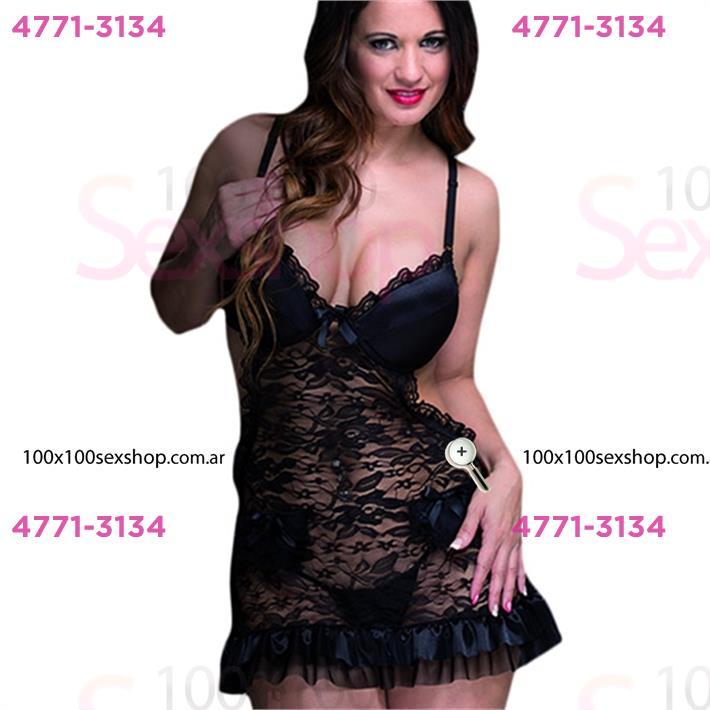 Cód: CA D6134NN - Vestido erótico de encaje con satén y puntilla negro - $ 3010
