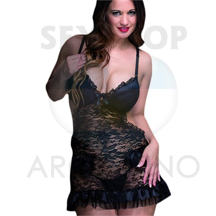 Vestido erótico de encaje con satén y puntilla negro