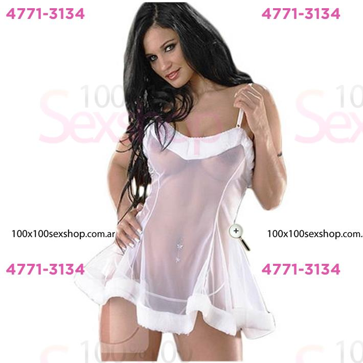 Cód: CA D6201B - Vestido erótico de Gasa Blanco transparente - $ 2600