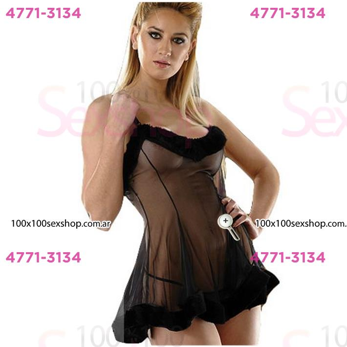Cód: CA D6201N - Vestido erótico de Gasa tranparente con Peluche y  Tanga - $ 3610