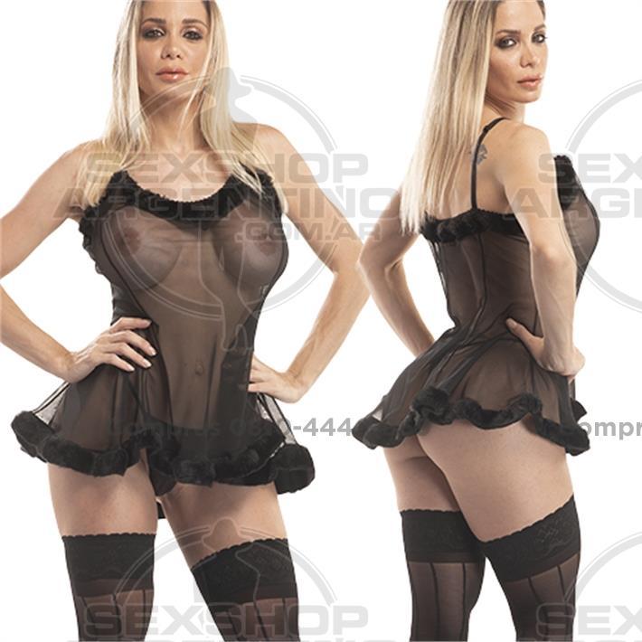 - Vestido erótico de Gasa tranparente con Peluche y  Tanga