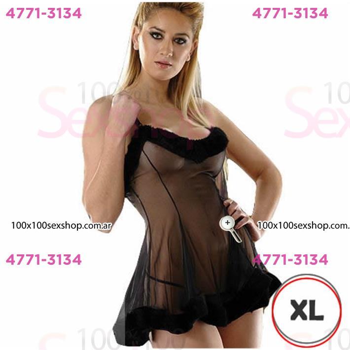 Cód: CA D6201NXL - Vestido erótico Xl Gasa Negro Con Peluche Y Tanga - $ 2630