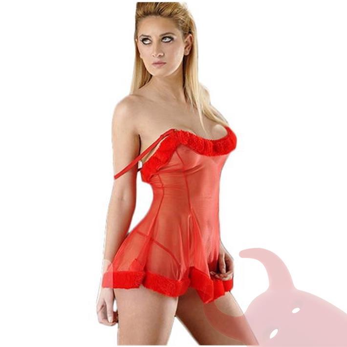 Vestido erótico de Gasa con tanga