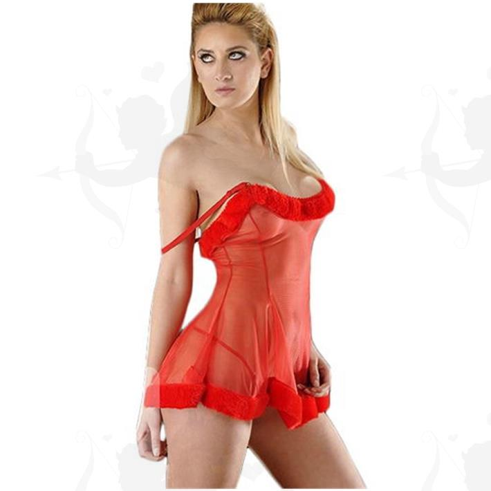 Cód: D6201R - Vestido erótico de Gasa con tanga - $ 2360