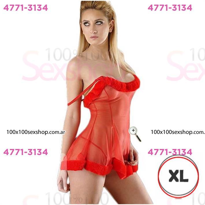 Cód: CA D6201RXL - Vestido erótico De Gasa XL con tanga rojo - $ 2630