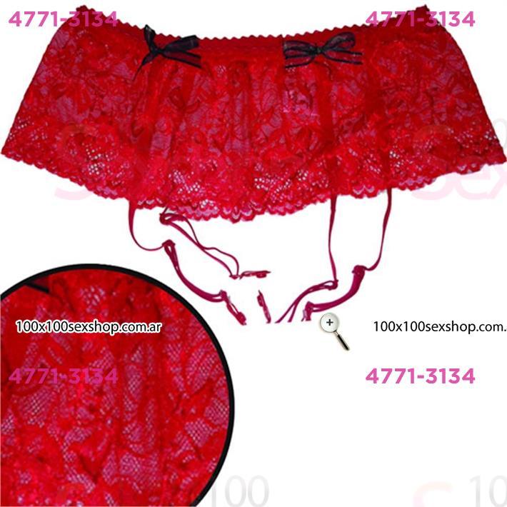 Cód: CA H202R - Portaligas rojo de encaje bordado - $ 690