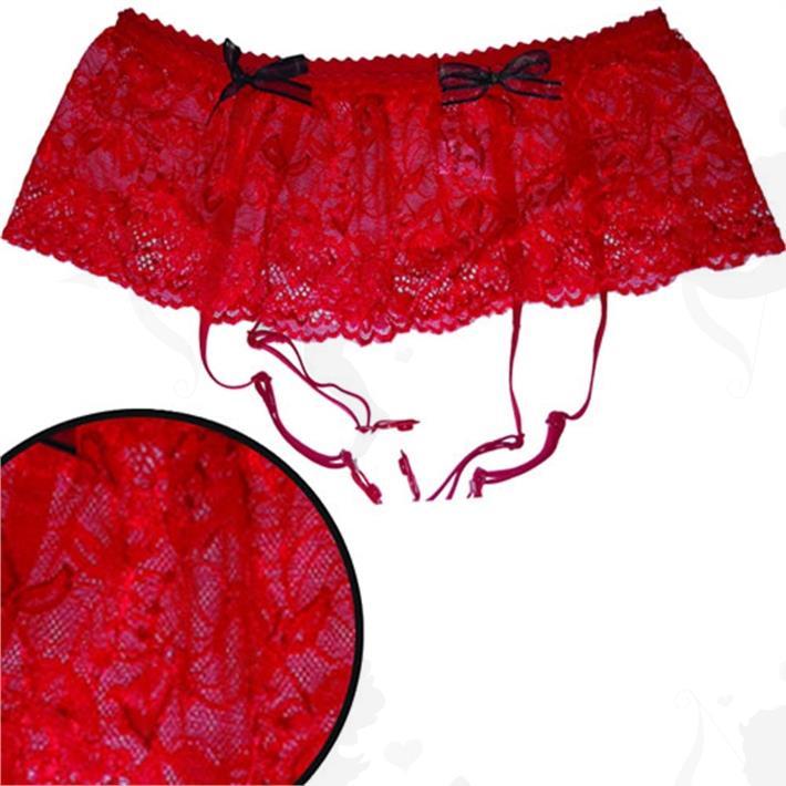 Portaligas rojo de encaje bordado