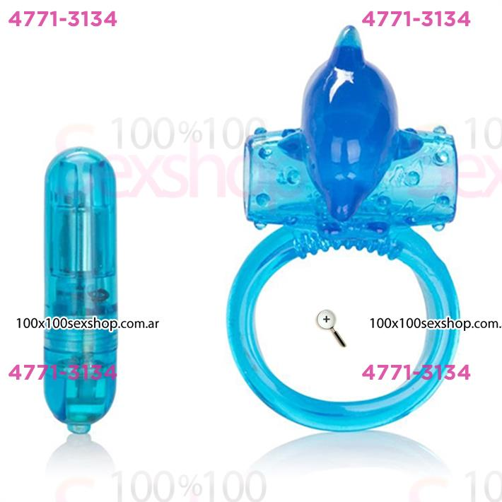Cód: CA IMA143 - Anillo vibrador con estimulador delfín - $ 1700