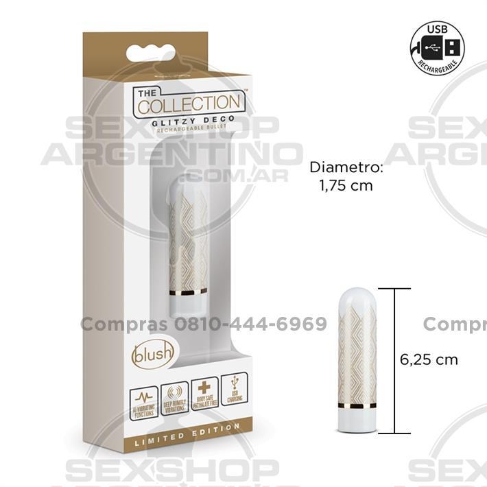 - Bala vibradora con 10 potentes vibraciones y carga USB