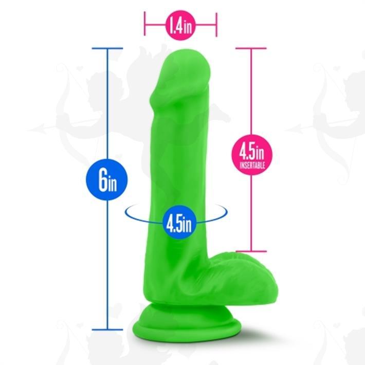 Dildo 6 verde con base de sopapa y testiculos