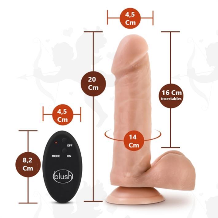 Consolador de 8 cyberskin con control de vibracion inalambrico