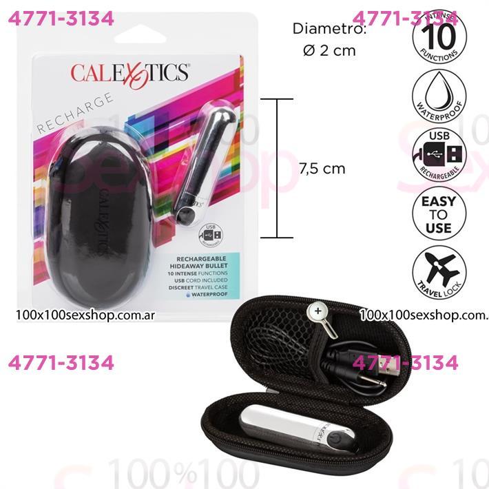 Cód: CA SS-CA-0062-40-2 - Bala vibradora recargable USB con estuche para viaje - $ 4850