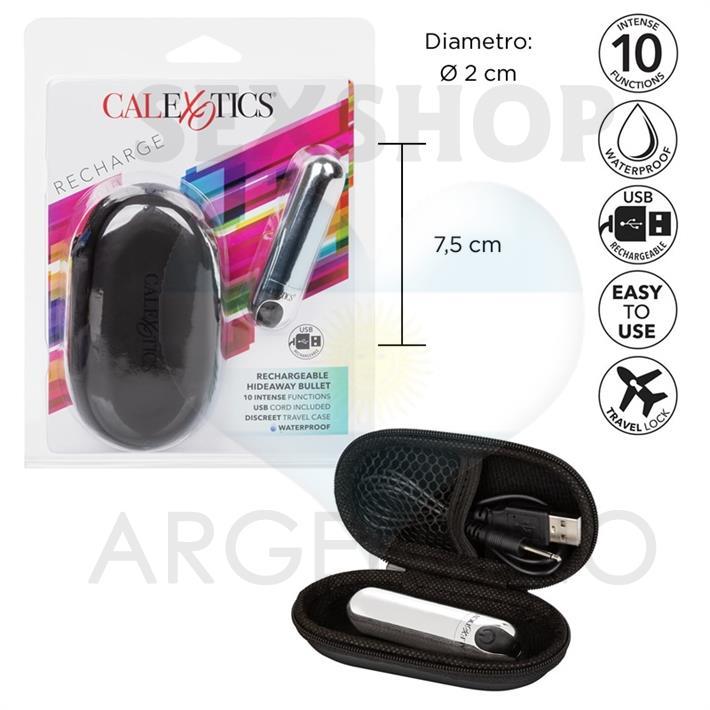 Bala vibradora recargable USB con estuche para viaje