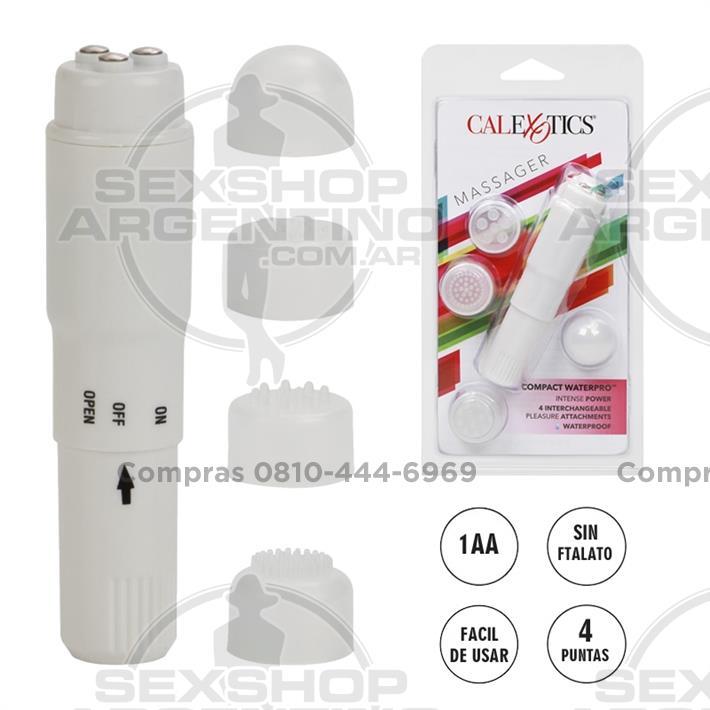 - Compact waterpo estimulador vaginal con cabezas intercambiables