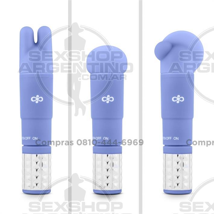 - Vibrador estimulador con 3 cabezas intercambiables