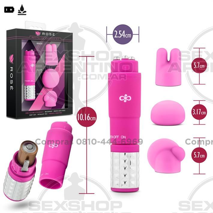 - Vibrador estimulador con 3 accesorios intercambiables