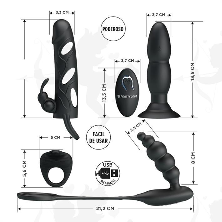 Kit de accesorios: Funda, anillo y doble dilatador anal con vibrador