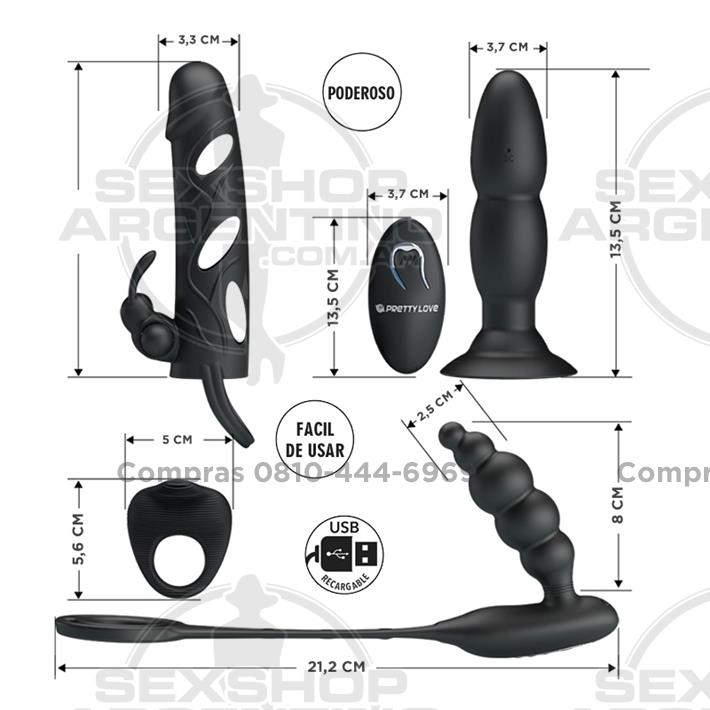 - Kit de accesorios: Funda, anillo y doble dilatador anal con vibrador