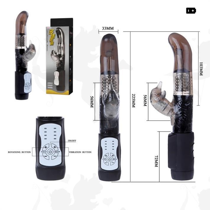Vibrador rotativo punta G y estimulador de clitoris. 12 velocidades