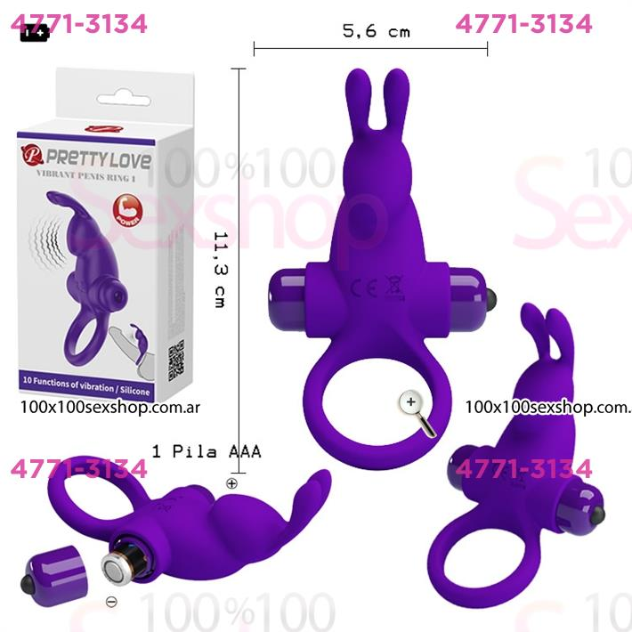 Cód: CA SS-PL-210204-1 - Anillo con potente vibrador conejo con 10 velocidades - $ 2585