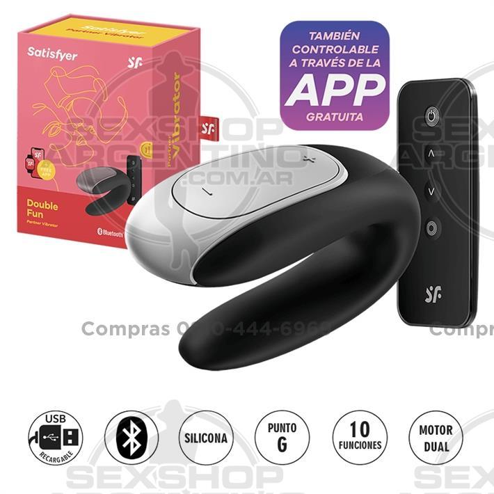 - Double fun vibrador con control remoto para parejas y carga USB