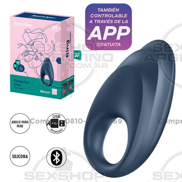 - Powerful One Anillo vibrador con control via APP y carga USB