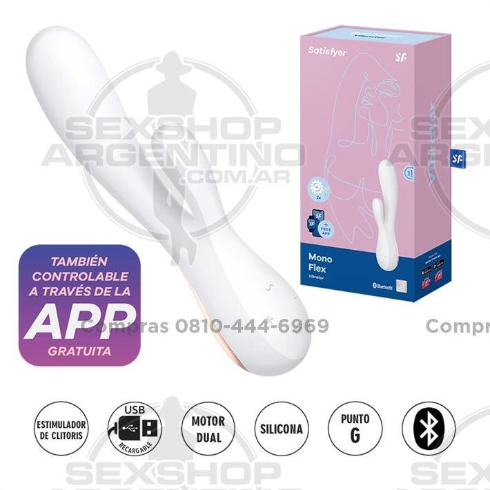 - Mono Flex white estimulador de punto G con carga USB y control con APP