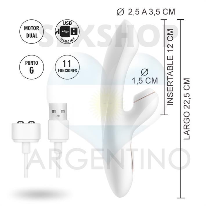 Estimulador de punto G con succionador de clitoris con carga USB