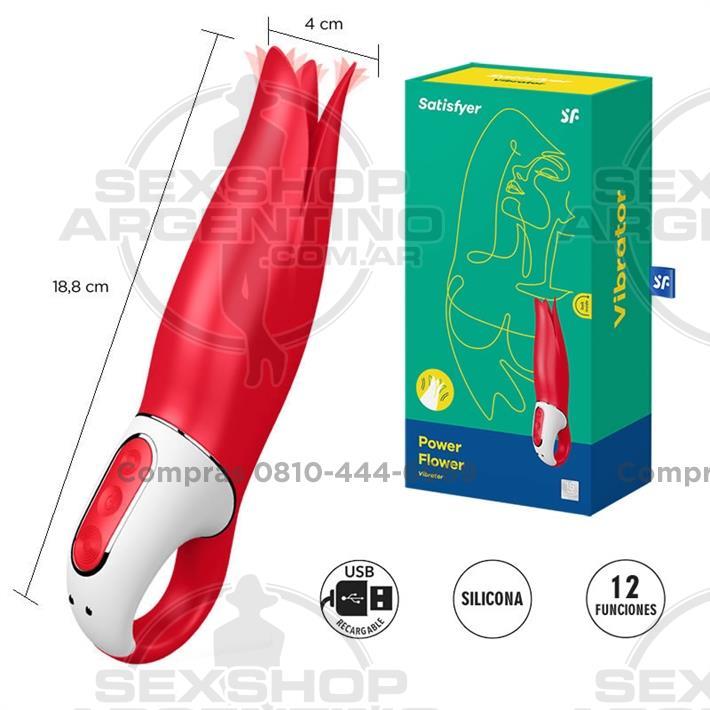 - Vibrador Flower Power con alas de estimulacion y carga USB