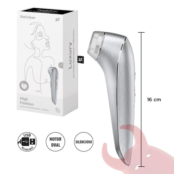 Luxury High Fashion estimulador de clitoris por onda de presion y vibracion con carga USB