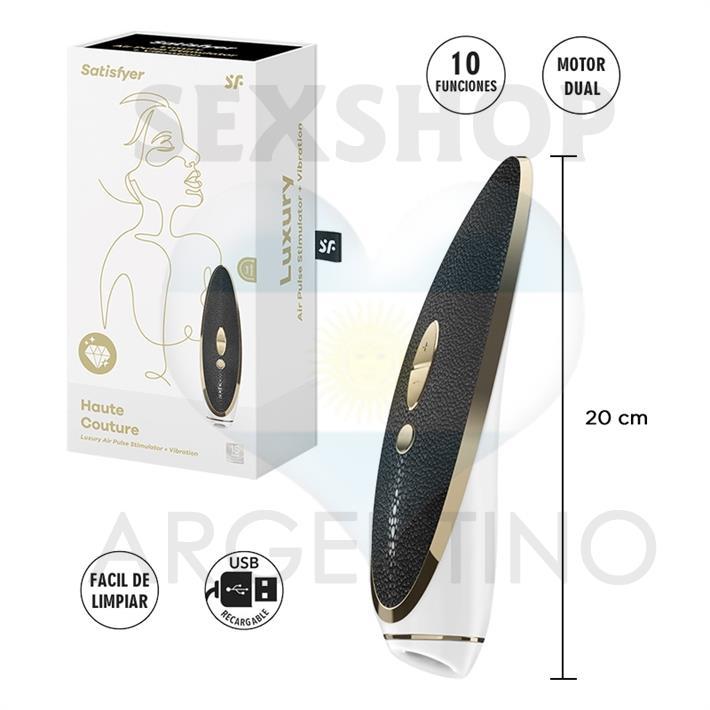 Luxury Haute Couture estimulador de clitoris vibrador con ondas de presion y carga USB