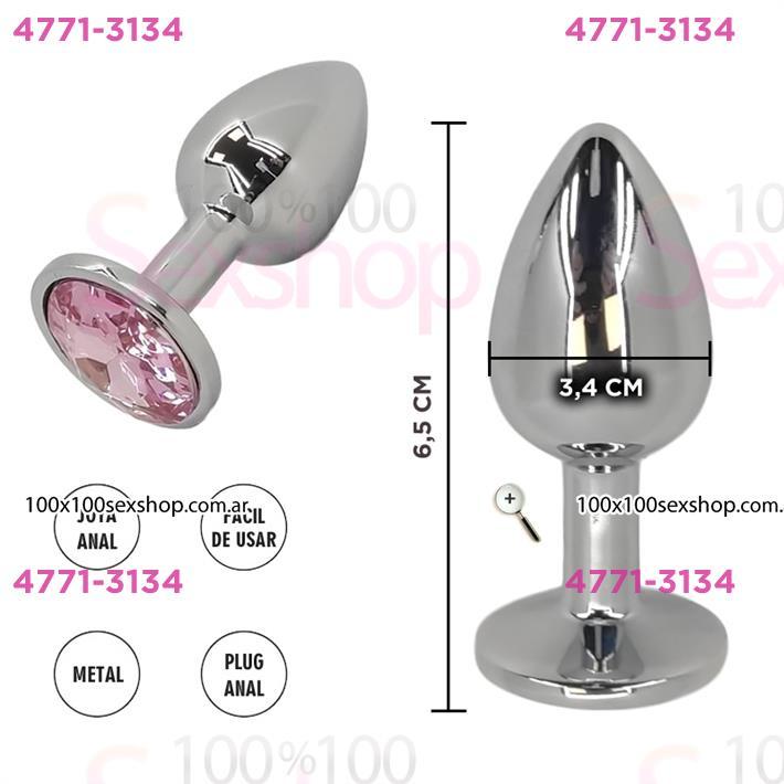 Cód: CA SS-SF-70091 - Plug de metal SMALL con joya rosa - $ 3200