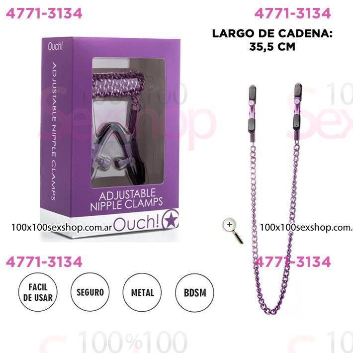 Cód: CA SS-SH-OU77 - Prenza de pezones con cadena purpuras - $ 2790